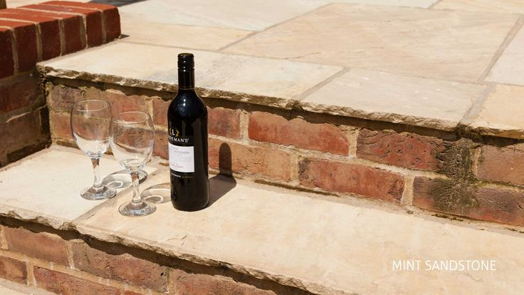 Mint sandstone with a glass of wine