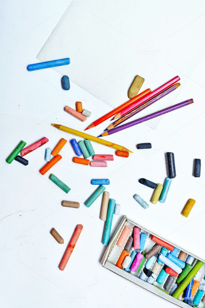 Colored pencils and crayons. Arts by Elena Vagengeim on @creativemarket