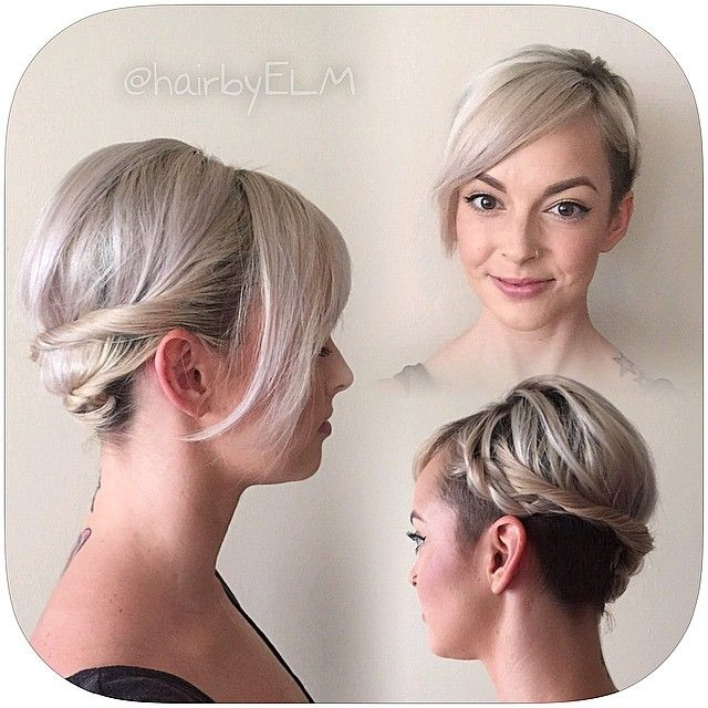 hairbyelm A few twists, and one braid up front to give my mom bob an easy casual updo ;) @nothingbutpixies #hairbyELM #shorthair #hairinspo #undercut