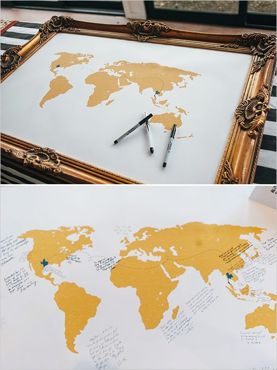 Frame a map of the world and have guests sign it. #guestbook #modernwedding