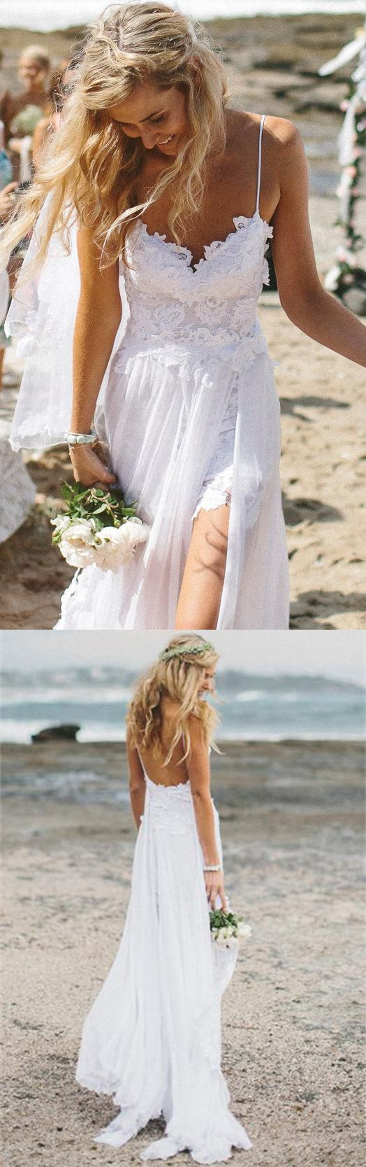 Beach Simple Wedding Dresses, Casual Wedding Dresses, White Tulle A-line Wedding Dress, Princess V neck Wedding Dress,Spaghetti Straps Wedding Dresseswe