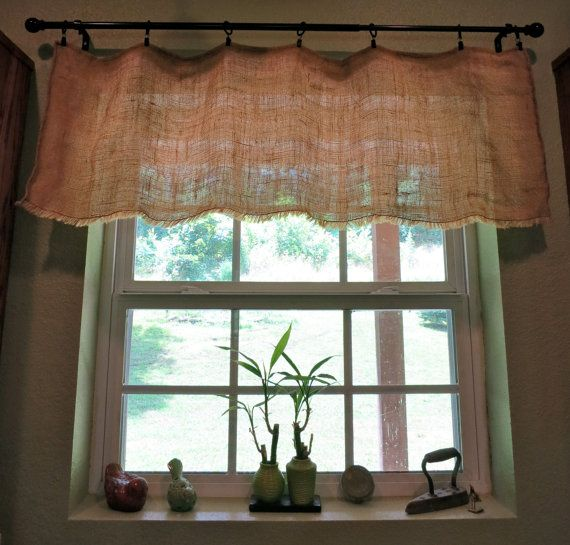 Shabby chic country cottage chic farmhouse rustic burlap window valance with fringed bottom - Country kitchen valances for windows ...