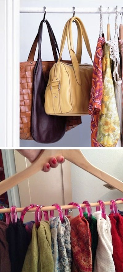 Shower Hooks As Closet Organizers Use those handy shower hooks to hang purses, scarves, hats, ties, belts, or anything else your closet ...