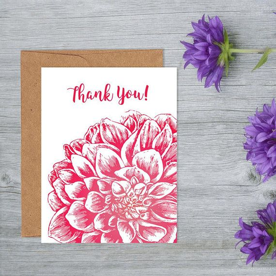 Thank You Card Blank Inside with Kraft Paper Envelope A2 Size, magenta flower thank you card, thank you note, Thank you gift for friend, thank you gif…