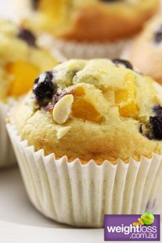 Healthy Muffins Recipes: Peach and Blueberry Muffins. #HealthyRecipes #DietRecipes #WeightlossRecipes weightloss.com.au