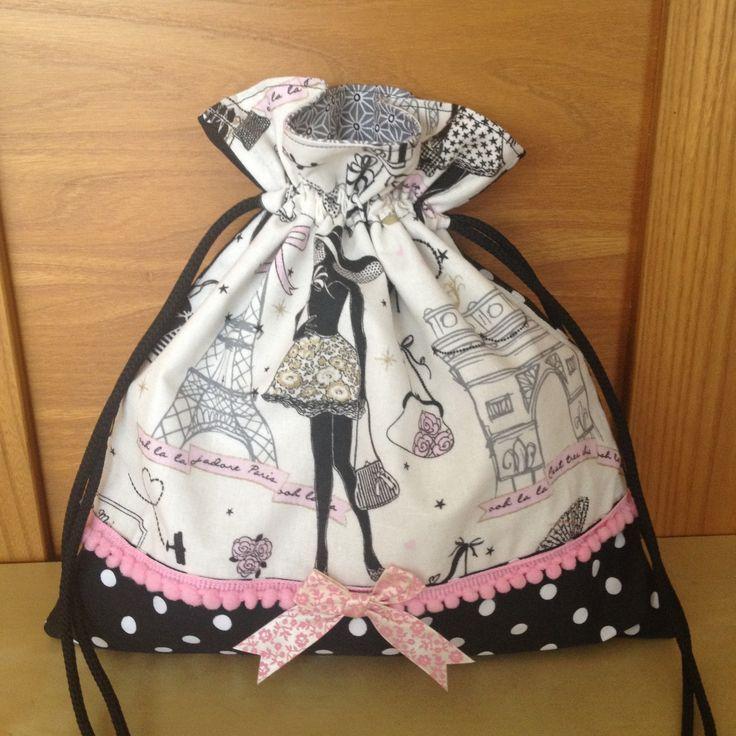 """Pochon pour lingerie rétro et chic """"la parisienne"""" N°2 et tissu à pois : Textiles et tapis par nymeria-creation"""