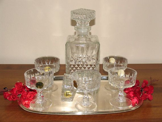 Cristal D Arques France crystal glasses liqueur glasses glass liqueur and liqueur whiskey bottle lead crystal