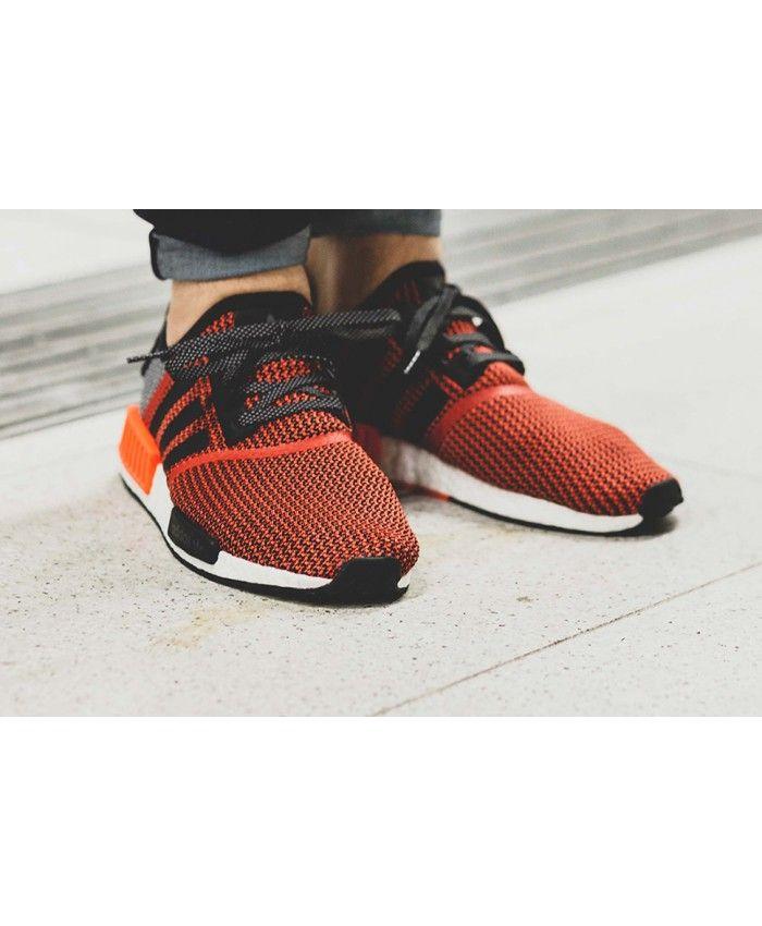 da3f99246 Adidas NMD Primeknit Mens Lush Red Black White Shoe