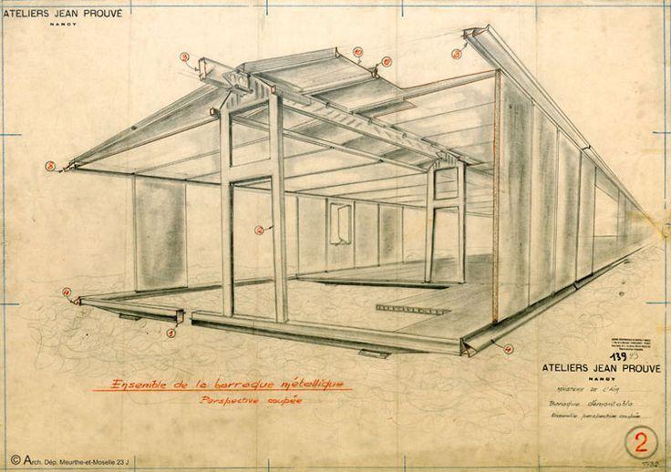 """O francês Jean Prouvé (1901 - 1984) foi um metalúrgico e arquiteto/designer autodidata, um dos precursores das casas e sistemas de construção pré-fabricados. Trabalhando a partir do postulado de que não há diferença estrutural entre uma peça de mobiliário e um edifício, Prouvé desenvolveu uma """"filosofia de construção"""", cujo livre-artifício estético da funcionalidade e fabricação aplicou os mesmos princípios para o design de móveis e para a arquitetura."""