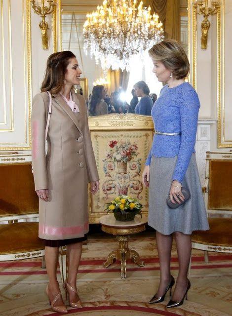 January 2016.. Queen Mathilde of Belgium and Queen Rania of Jordan