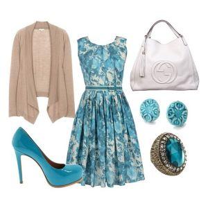 С чем носить синие туфли: голубые туфли и летнее платье