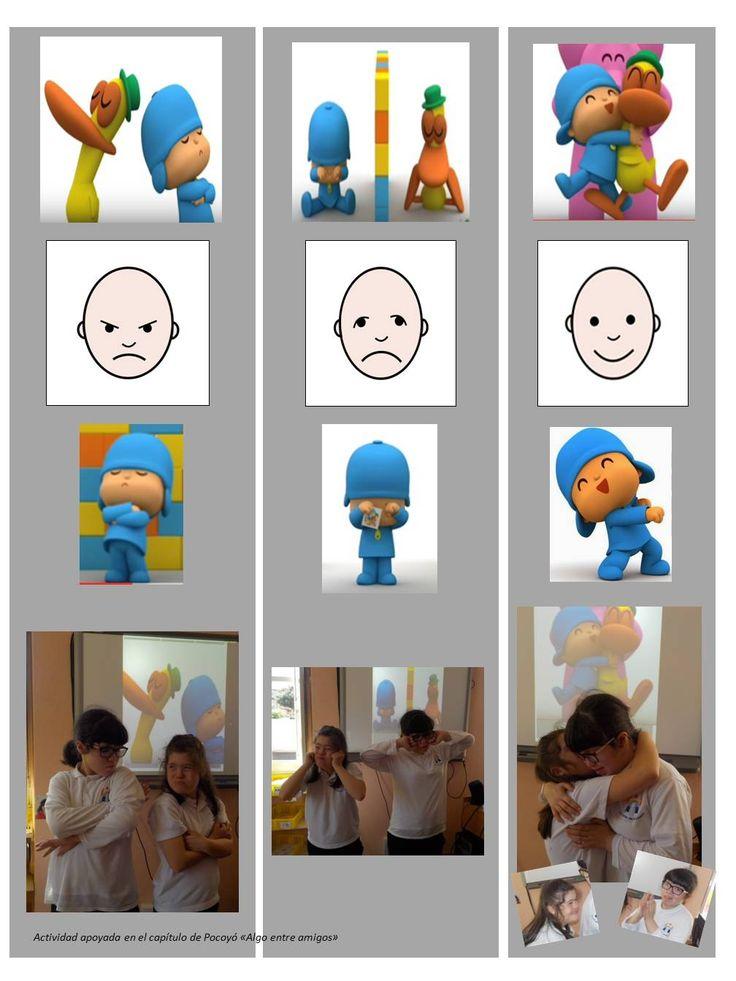 """Apoyados en el vídeo de Pocoyó """"algo entre amigos"""", realizamos una actividad adpatada de """"rol-playing"""" para comprender mejor determinadas emociones."""