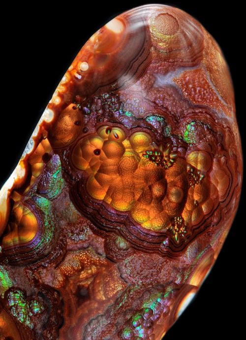 Mexican Fire Agate.  This is one of the coolest looking rocks I have seen, and I have seen boat loads. I love the color range and 3D characteristics  of Fire Agate. Basically Quartz with some impurities. This photographer  does great work.