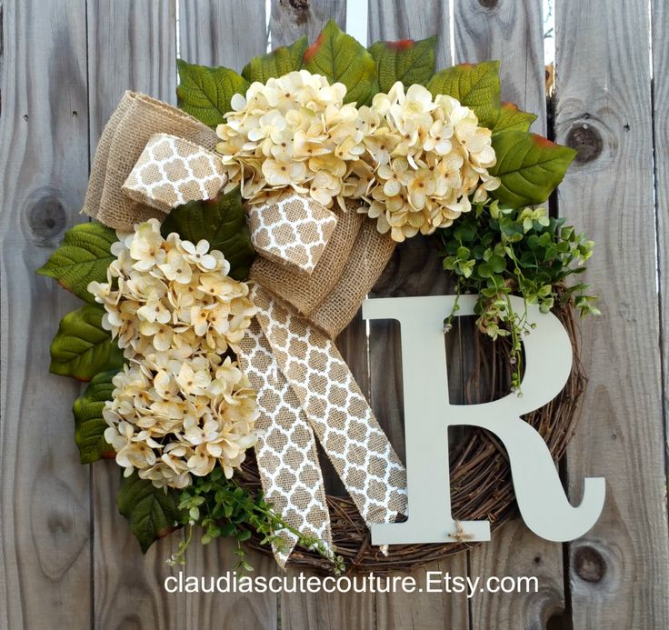 Cream Hydrangea Wreath with Chevron Bow,Spring Wreath,Year Round Wreath,Front Door Wreath,Grapevine Wreath,Mother's Day Gift by ClaudiasCuteCouture on Etsy https://www.etsy.com/listing/231119369/cream-hydrangea-wreath-with-chevron