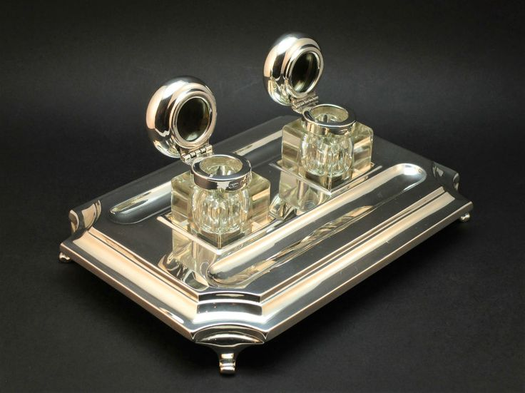 c1934 ANTIQUE ART DECO SOLID SILVER DOUBLE INKSTAND, 2 INKWELLS, DESK STANDISH