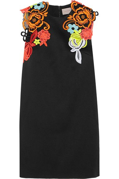Black cady, multicolored neon guipure lace Concealed hook and zip fastening at back 58% viscose, 42% acetate; trim: 100% polyester; lining: 74% acetate, 26% silk Dry clean