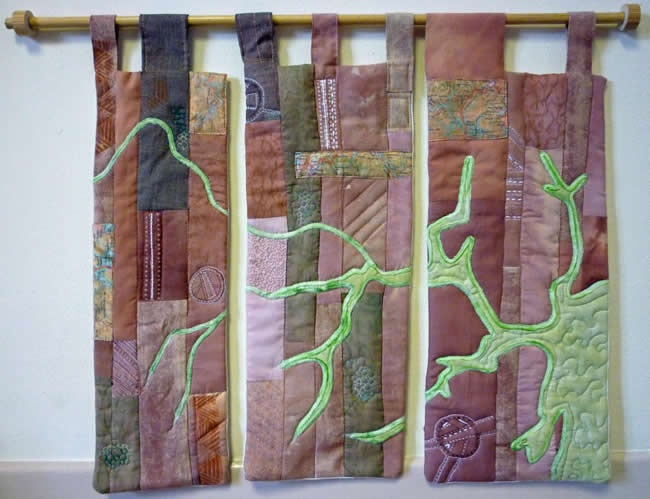 The Secret River map art quilt by Mary Bryning