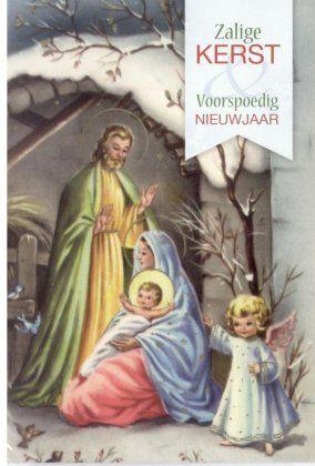 Zalige kerst & voorspoedig Nieuwjaar    Katholieke kerstkaarten met heiligen afbeelding