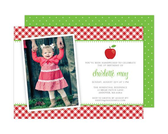Apple Birthday Party Photo Invitation (Apple Party, Apple Baby Shower, Apple Invitation, Apple of my Eye)  // Party Printables // Apple Party Ideas // Paige Simple // www.paigesimple.com