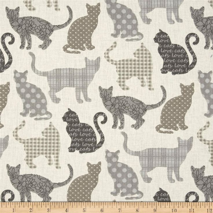 Stof France Chipie Naturel from @fabricdotcom  From Stof Fabrics of France, this cotton print quilting cotton is wider than your average quilting cotton. This print features patterned cats. Perfect for quilting projects, children's sheeting, quilt backing, lighter curtains, dust ruffles, and crisp apparel like skirts and button-down shirts. Colors include shades of grey, taupe, and cream.