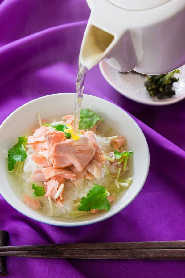 Ochazuke (Tea Rice) is a simple Japanese porridge made with salted salmon and rice with tea poured over it to make a broth.