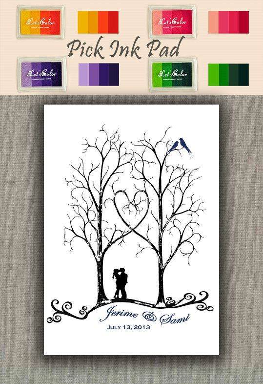 <3 <3 ThumbPrint Signature Wedding Tree Guest Book Alternative / Gift / Trees with Couple Silhouette and Love Birds on Etsy, $49.00