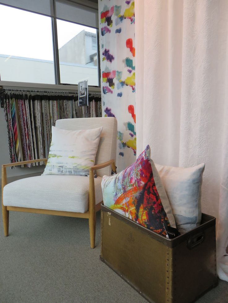 Abstract Print fabric: Wee Nevis. Embroidered White Linen fabric: Classia. Customer Design Chair covered in Gibston. Cushions from Romo Black . www.lahood.co.nz