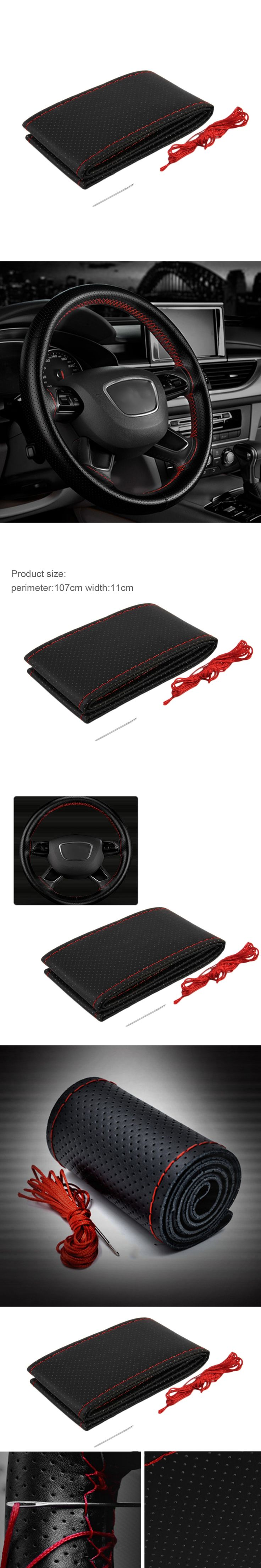 Newest 3 Color DIY Texture Soft Auto Car Steering Wheel Cover With Needles And Thread Artificial Leather Car Covers Car-styling