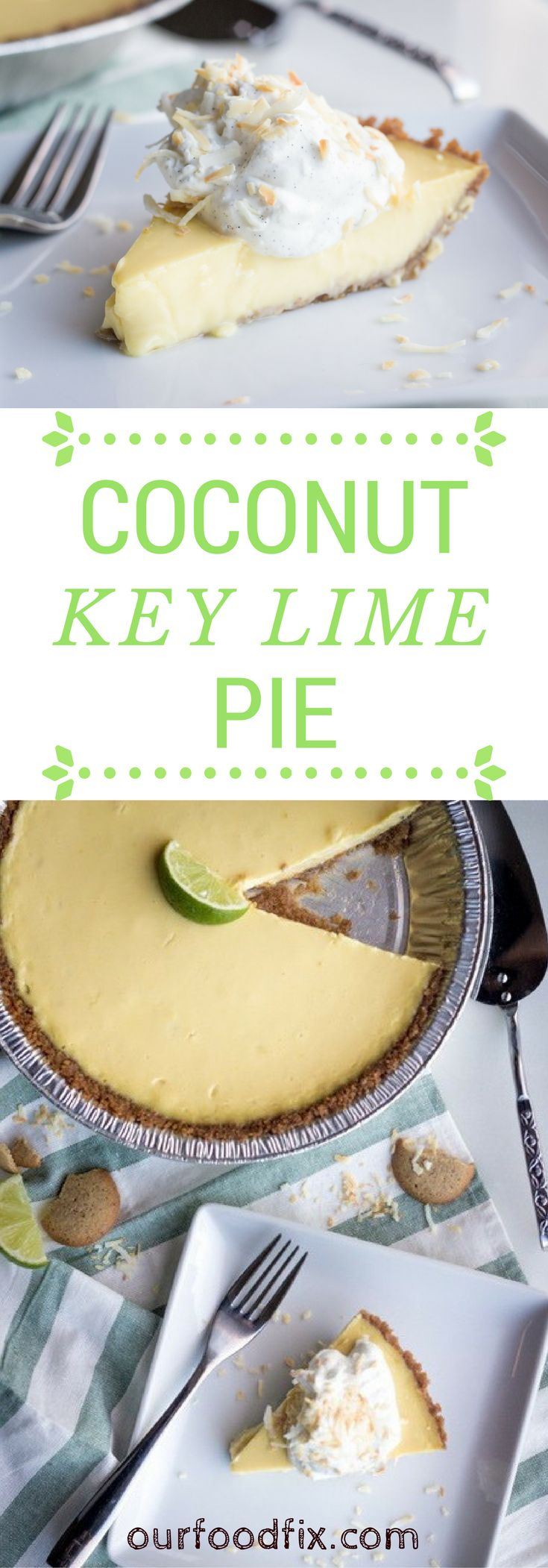 A creamy, rich yet light, wonderfully sweet-tart pie perfect for your Easter table or next holiday gathering. Hint, serve the pie partially frozen for a special warm weather treat! Dessert recipes | Key lime pie | Coconut key lime | Pie recipes | Easter recipes | Holiday recipes | Easter desserts | Make ahead dishes