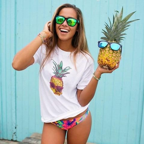 Get this Look! Hot trends for Spring Break and Summer. Wear this look in style on your Spring Break Vacation! A colorful tee with floral hibiscus bikini bottoms. Super cool graphic t-shirt with pineapple skull and polarized sunglasses. Shop this look..