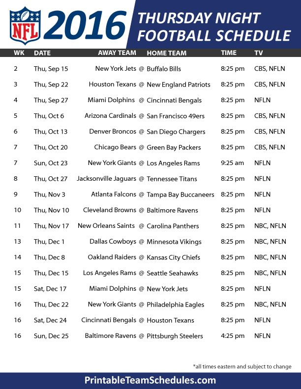 NFL Thursday Night Football Schedule 2016 Print Here - http://printableteamschedules.com/NFL/thursdaynightfootball.php