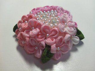 Hydrangea pink-chirimen tsumami zaiku