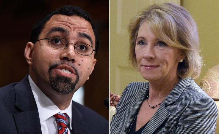 Obama's current Secretary of Education is (l.) John King Jr. The incoming Secretary of Education is Betsy DeVos (r.).