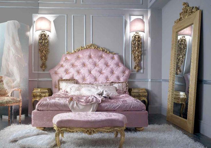 Bedroom in baroque style classic interior and furniture design
