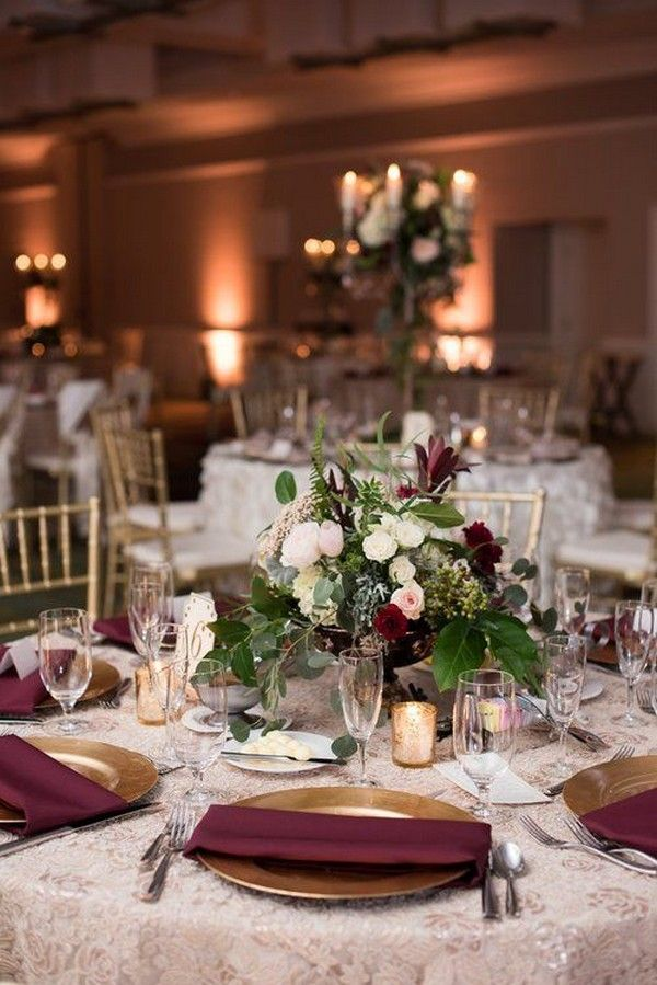 Top 18 Burgundy Wedding Centerpieces For Fall 2018 Page 2 Of 2 Oh Best Day Ever Burgundy Wedding Centerpieces Wedding Table Wedding Centerpieces