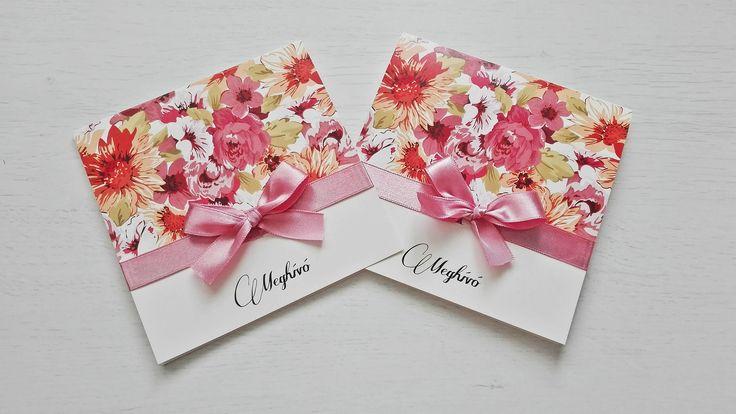 Vintage virágos esküvői meghívó pink szalaggal díszítve - vintage flowers wedding invitations
