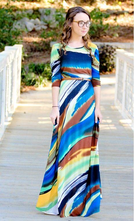 Women's 3/4 sleeve A-line watercolor maxi dress.