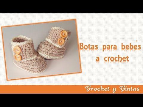 Botas – zapatos para bebés tejidas a crochet o ganchillo - Parte 1 - YouTube