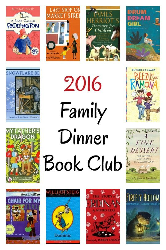 Here is the 2016 line-up for Family Dinner Book Club for 2016. Each month a themed menu, table crafts, conversation starters and a family service project. | www.growingbookbybook.com