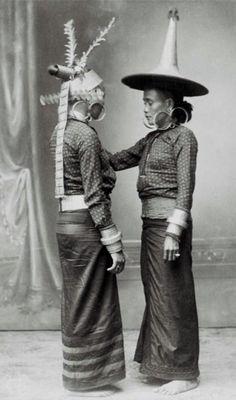 Indonesia ~ Sumatera, Nais   Studio portrait of two women from South Nias in dance costume. ca 1892 - 1922   ©Christiaan Benjamin Nieuwenhuis