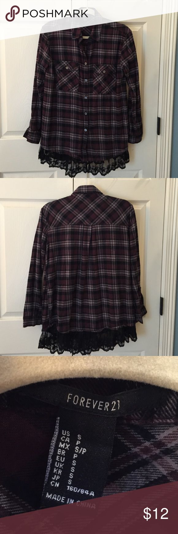 Forever 21 Flannel Shirt EUC Super cute long sleeved flannel shirt with lace trip on the bottom. Buttons in front. Only worn once. No flaws. Forever 21 Tops Button Down Shirts