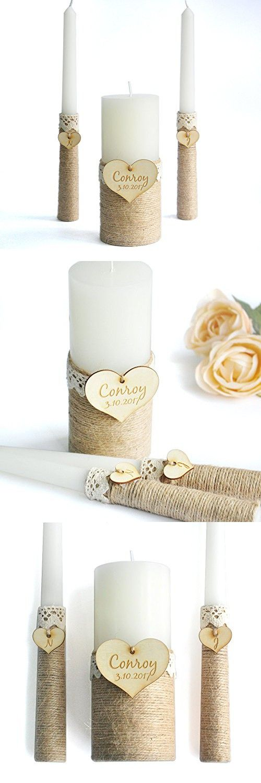 Personalized Wedding Unity Candle Set, Custom Wedding Candles, Rustic Wedding Candles, Ivory Unity Candle