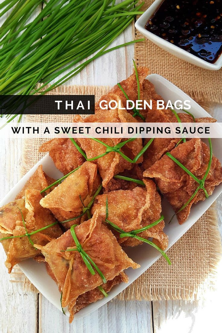 Golden bags stuffed with tofu, shiitake mushrooms and carrots, and flavored with Thai curry paste. Makes a great vegan/vegetarian appetizer.
