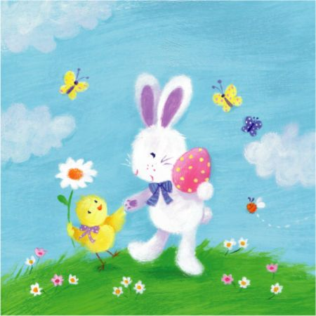Melanie Mitchell - easter card , bunny , chick egg, mel mitchell.jpg
