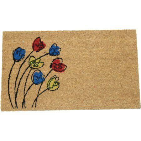 Blowing Flowers 18 inch x 30 inch Printed Coir Doormat, White