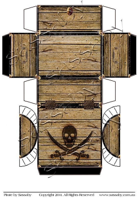 Pirate 39 s treasure chest box instant download printable for Cardboard pirate ship template