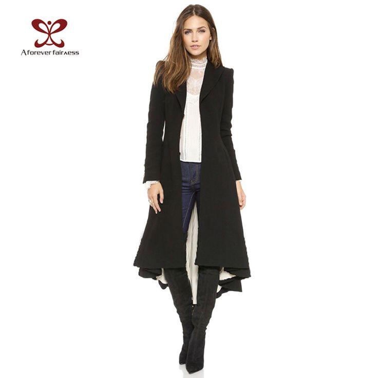 2015 женщины пальто европейский стиль с длинным рукавом свободного покроя плащ длиной макси ласточкин хвост мода тонкий черный тренчи NC 745 купить на AliExpress
