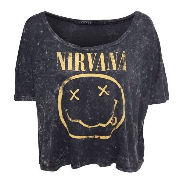 Crafted Over-Sized Nirvana T-Shirt Dark grey Womens 18 ❤ liked on Polyvore featuring tops, t-shirts, shirts, crop tops, dark gray shirt, crop t shirt, shirt crop top, over sized t shirt and oversized t shirt