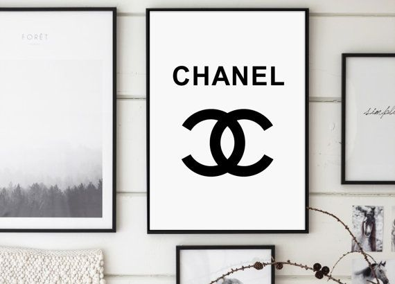 Chanel White Chanel Sign Print Chanel CHANEL by GalaDigitalPrints
