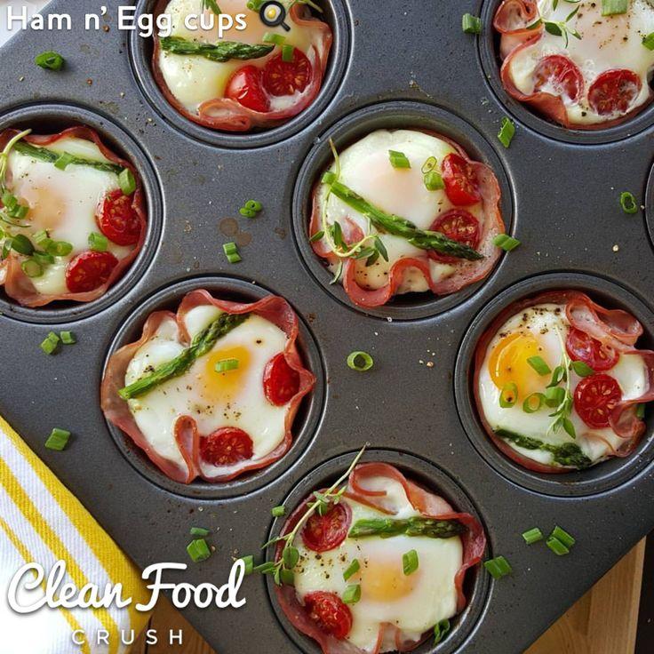 ham n' egg cups recipe http://cleanfoodcrush.com/ham-n-egg-cups/